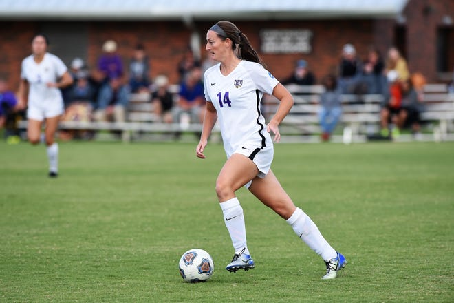 Hardin-Simmons defender Sarah Krisa (14) is one of seven seniors on the roster playing their final home game of the regular season on Saturday against UT-Dallas. The winner between the two conference unbeatens could determine the regular season ASC champion.