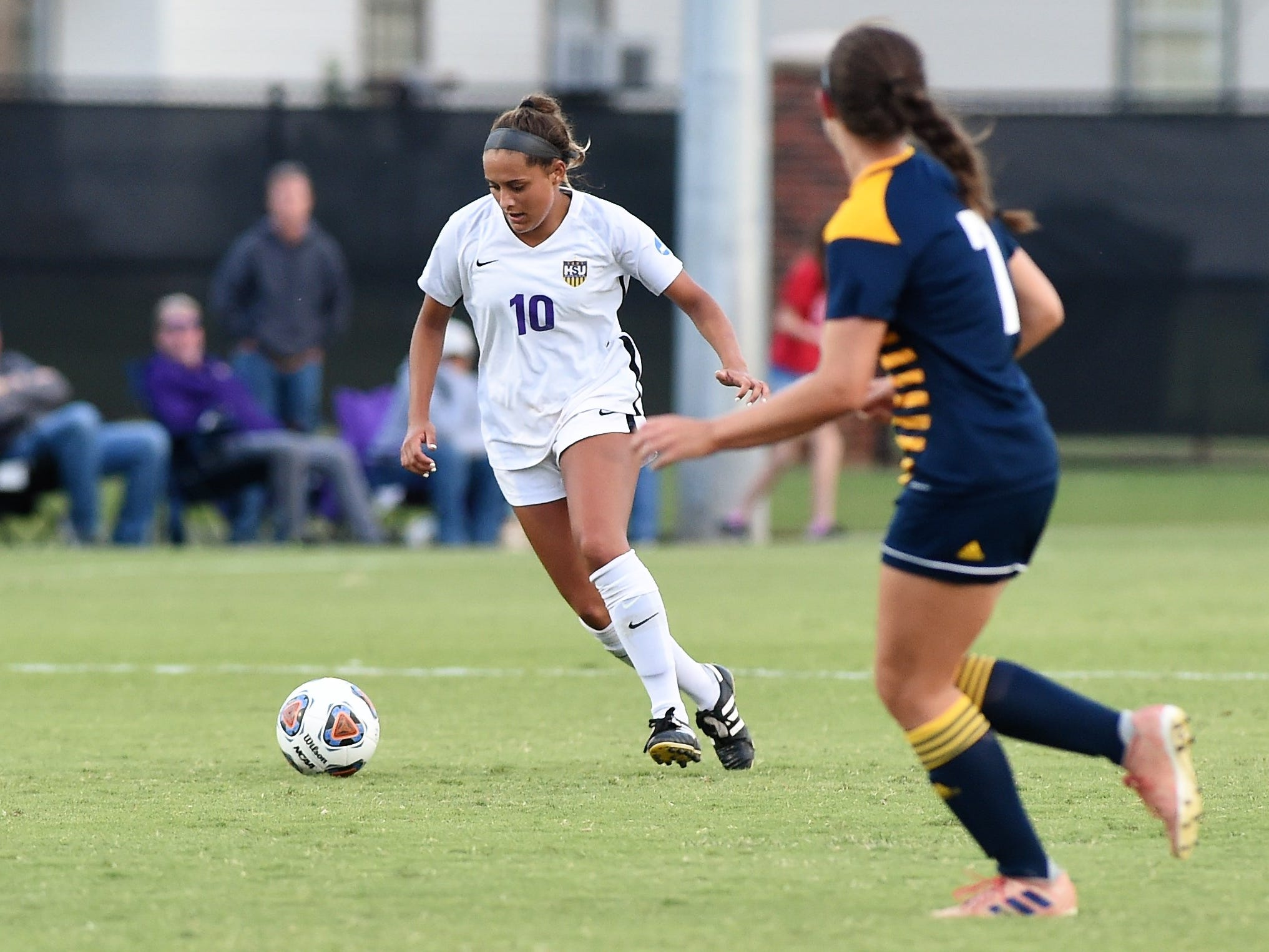 Hardin-Simmons forward Randie Dennison (10) makes a move with the ball against Howard Payne at the HSU Soccer Complex on Thursday, Oct. 11, 2018. The Cowgirls won 4-1.