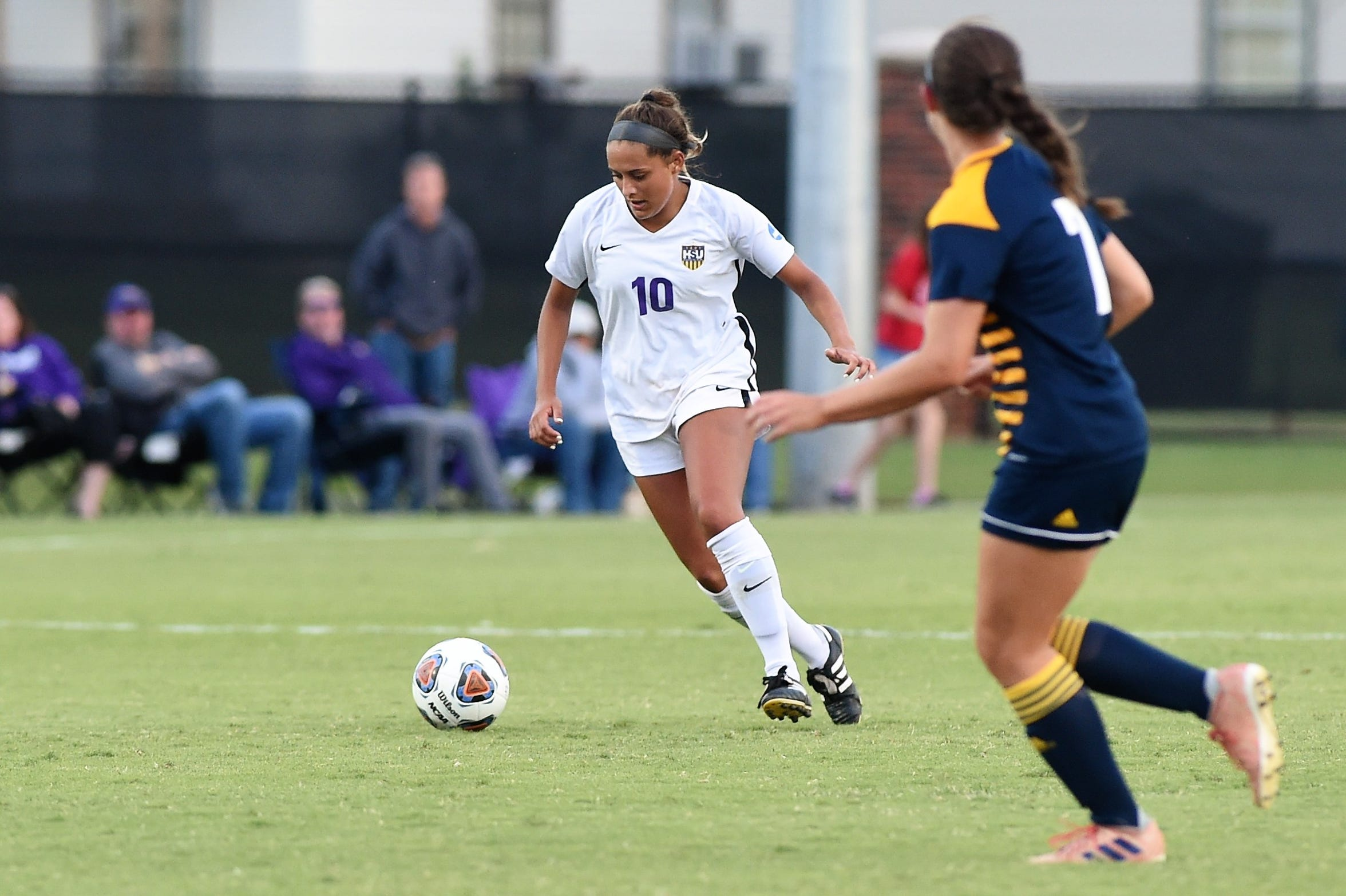 Hardin-Simmons forward Randie Dennison (10) played in all 18 games, with starts in 14 this season as a freshman. Dennison, a Wylie graduate, scored 11 goals and was named first team all-conference.
