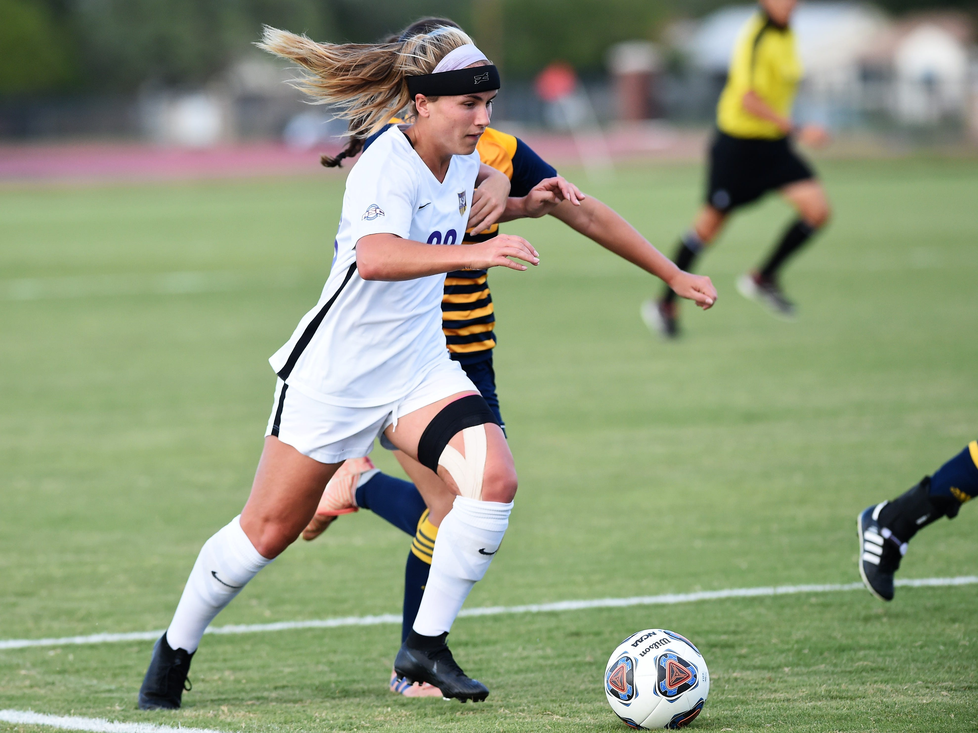 Hardin-Simmons midfielder Kenne Kessler (28) makes a move inside the box against Howard Payne at the HSU Soccer Complex on Thursday, Oct. 11, 2018. The Cowgirls won 4-1.