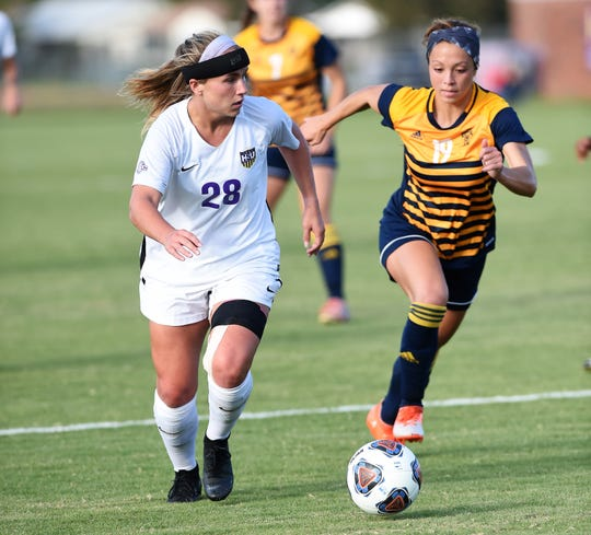 Hardin-Simmons' Kenne Kessler (28) led the country in goals scored last season and has been a key part to this year's team. The seven senior Cowgirls are playing their final regular season home game on Saturday when UT Dallas comes to the HSU Soccer Complex.