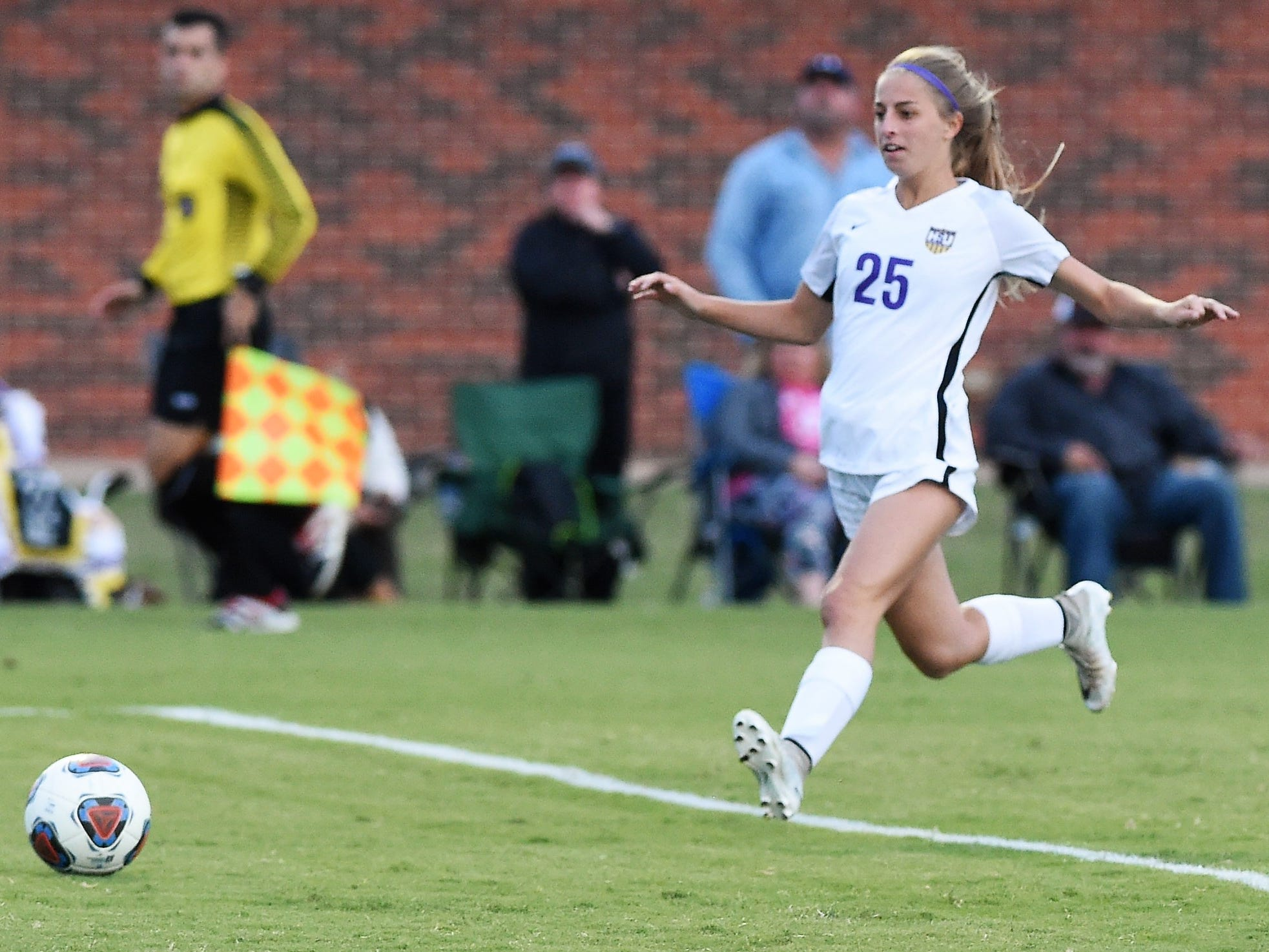 Hardin-Simmons midfielder Michaela Sabrsula (25) tries to run the ball down against Howard Payne at the HSU Soccer Complex on Thursday, Oct. 11, 2018. The Cowgirls won 4-1.