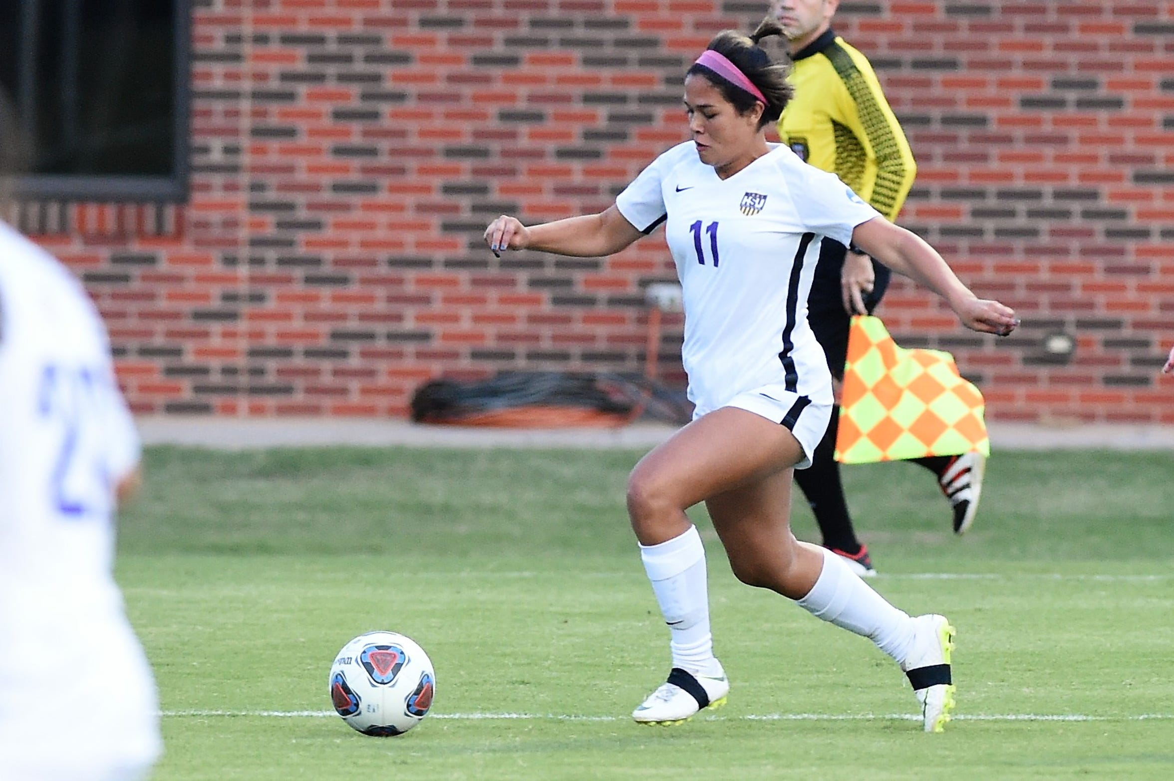Hardin-Simmons defender Avery Lara (11) has played in 10 games as a freshman this season. Lara, an Abilene High graduate, is playing behind a veteran back line.