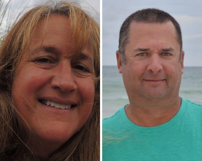 Two candidates running in Tekonsha are Kollene Frie, left, and Chris Katz.