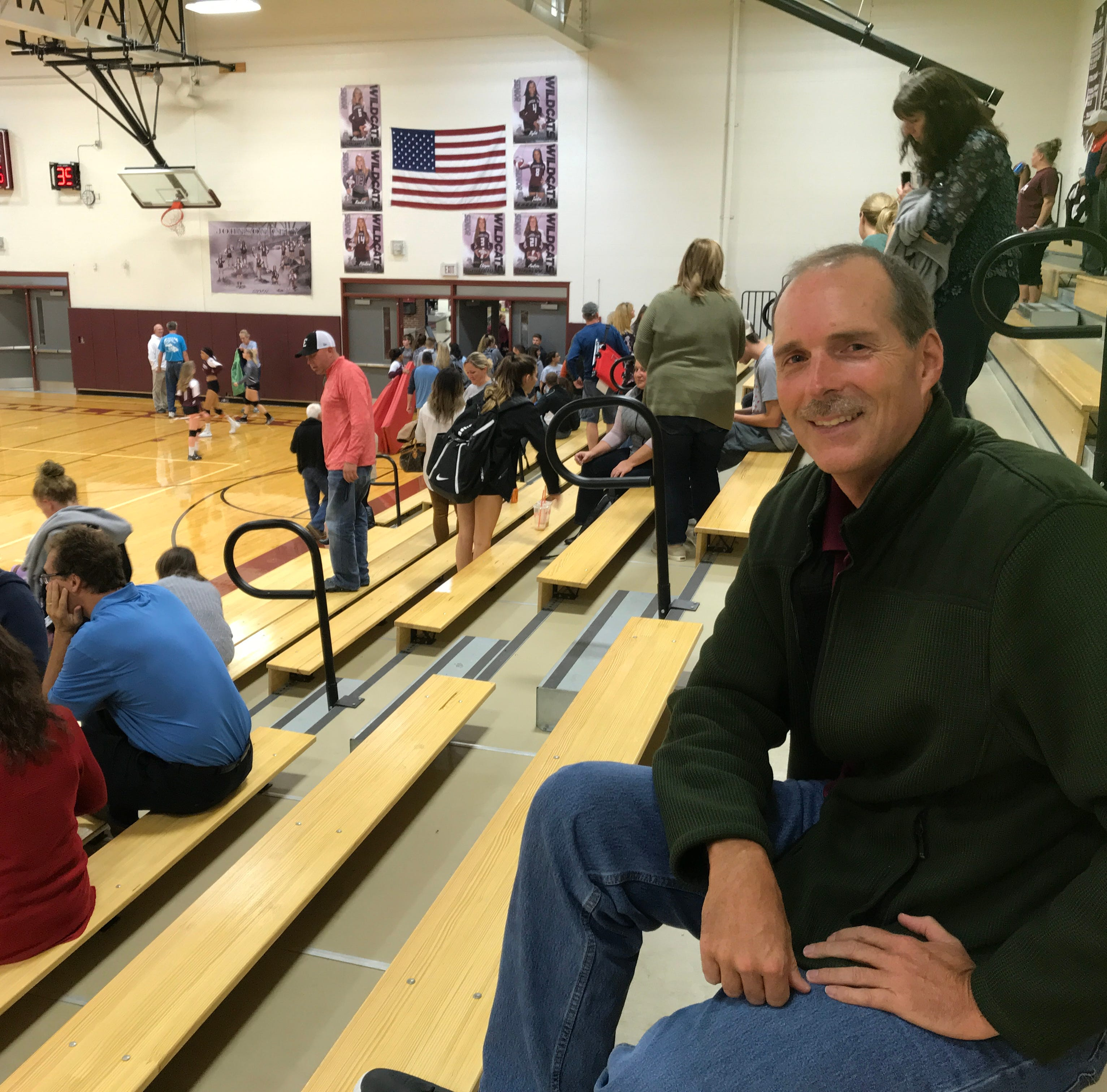 Jim Lynch, of Elmira, traveled to Johnson City to see his daughter, Kylie, and her Elmira volleyball team play on Oct. 2.