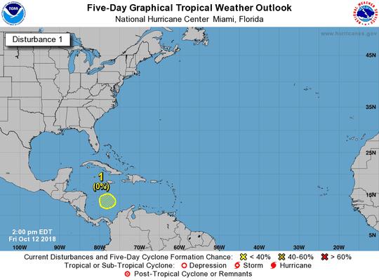 Area of low pressure 2 p.m. Oct. 12, 2018.