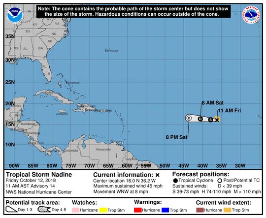 Tropical Storm Nadine 11 a.m. Oct. 12, 2018