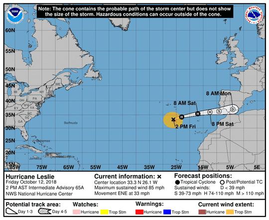 Hurricane Leslie 2 p.m. Oct. 12, 2018