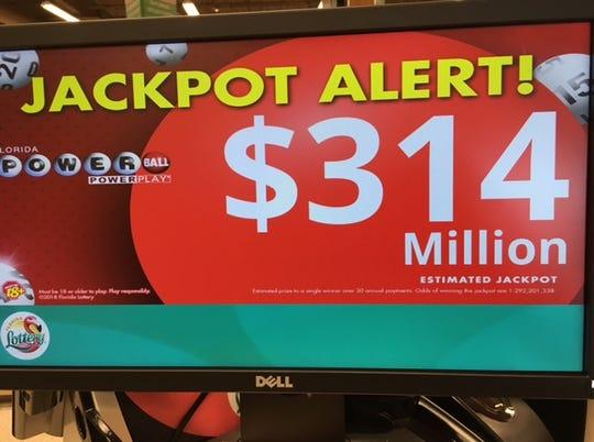Powerball jackpot surpasses $300 million.