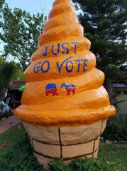 This Caller-Times file photo shows the giant ice cream cone in Corpus Christi painted with a message encouraging residents to vote.