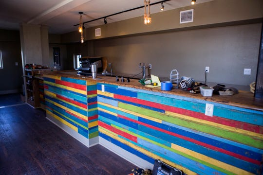 Island Joe's Coffee Shop and Gallery on North Padre Island is getting a new home. The first floor of the facility has a multicolored coffee bar. The facility was still under construction on Friday, October 12, 2018.