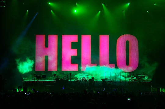 The Gorillaz say 'hello' to fans before a show Thursday, Oct. 11, 2018 at the Wells Fargo Center in Philadelphia, Pa.