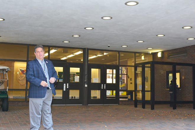 Pemberton Township Schools Superintendent  Tony Trongone stands in the main entrance vestibule of the township high school, where  a bullet-resistant glass wall will be installed using a Burlington County grant to  make the entry more secure