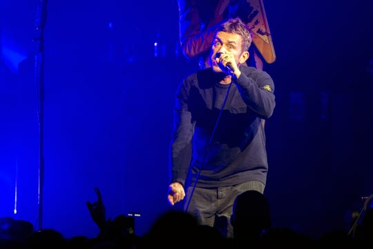 Gorillaz frontman Damon Albarn performs with his band Thursday, Oct. 11, 2018 at the Wells Fargo Center in Philadelphia, Pa.