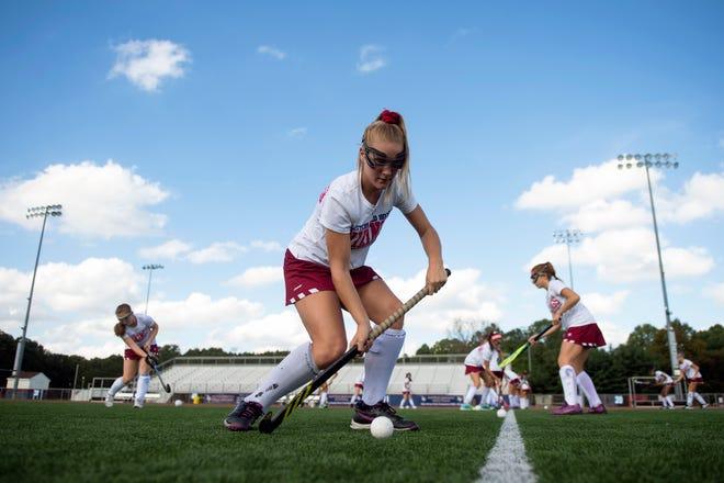 Eastern's Kylie Zielinski, 16, practices with her team Wednesday, Oct. 10, 2018 at Eastern High School in Voorhees, N.J.