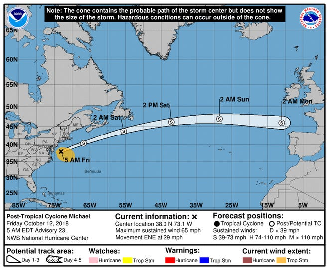 Latest predicted path for Michael from the National Weather Service as of 5 a.m. Friday, Oct. 12.