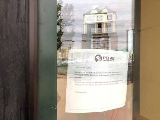 A sign on the door of the Pei Wei restaurant at the Marketplace at Garden State Park advises customers the location is permanently closed.