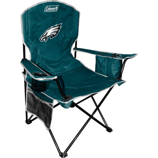 This Coleman Green Eagles-themed chair features a built-in armrest cooler that holds four cans, four cup holders, a storage pocket for magazines and personal items, and easily folds and comes with a carry bag for storage and travel.