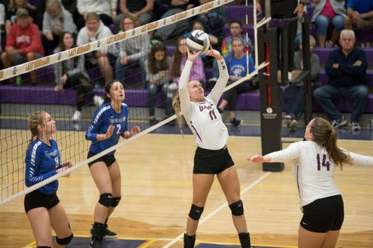 Unioto's Emily Coleman sets the ball against Southeastern in a 3-1 win over the Panthers at Unioto High School on October 11, 2018. Unioto and Southeastern were co-SVC champs in 2018, can they repeat their success in 2019?