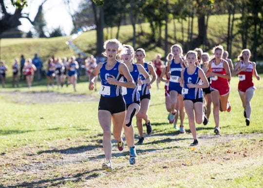 The Chillicothe girls cross-country team received first place at the 2018 FAC cross-country meet in Washington Courthouse, Ohio, on Thursday, October 11, 2018 with an average time of 20:32.80.