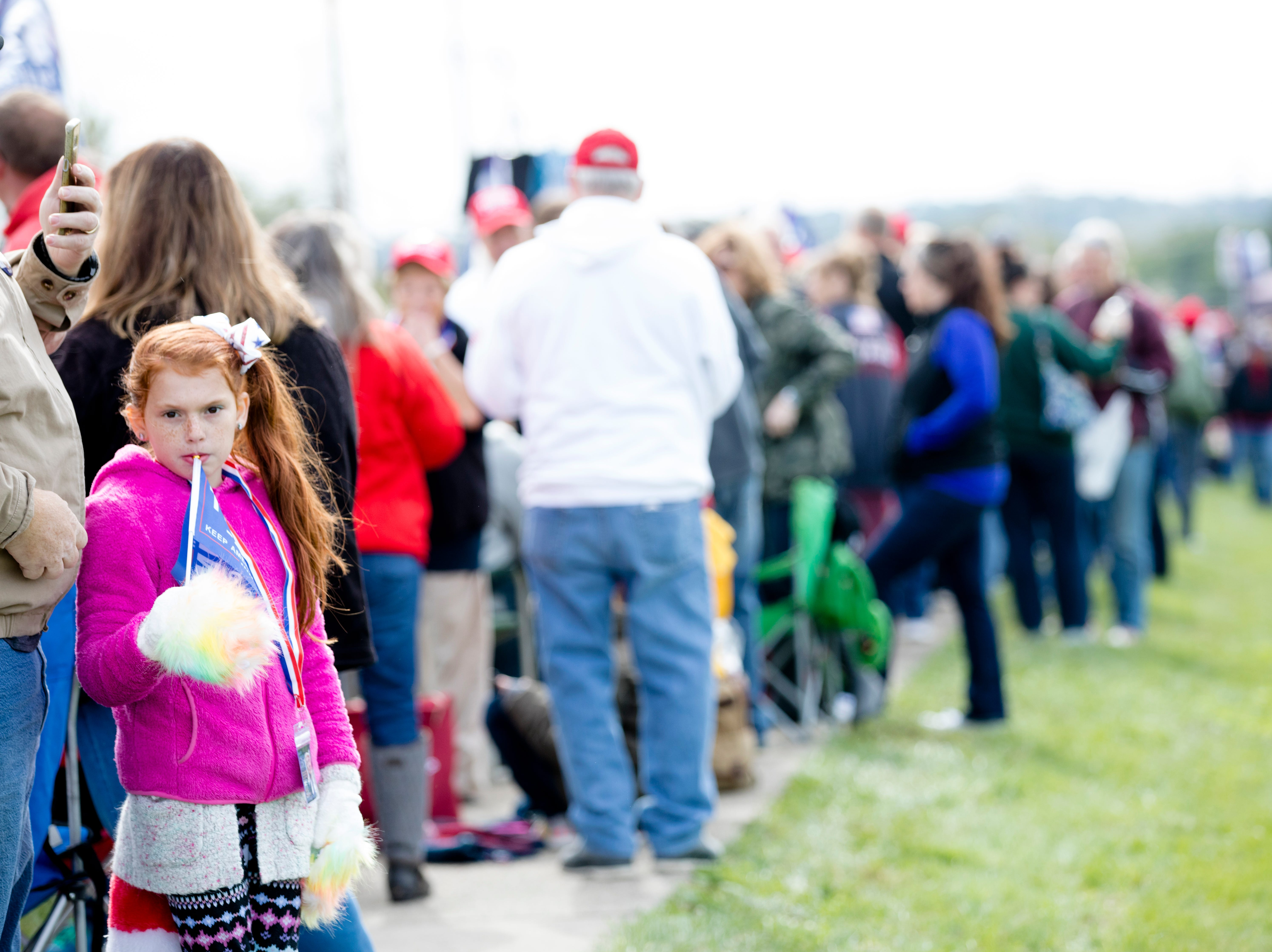 People wait in line for President Donald J. Trump's Make America Great Again Rally in Lebanon, Ohio, on Friday, Oct. 12, 2018.