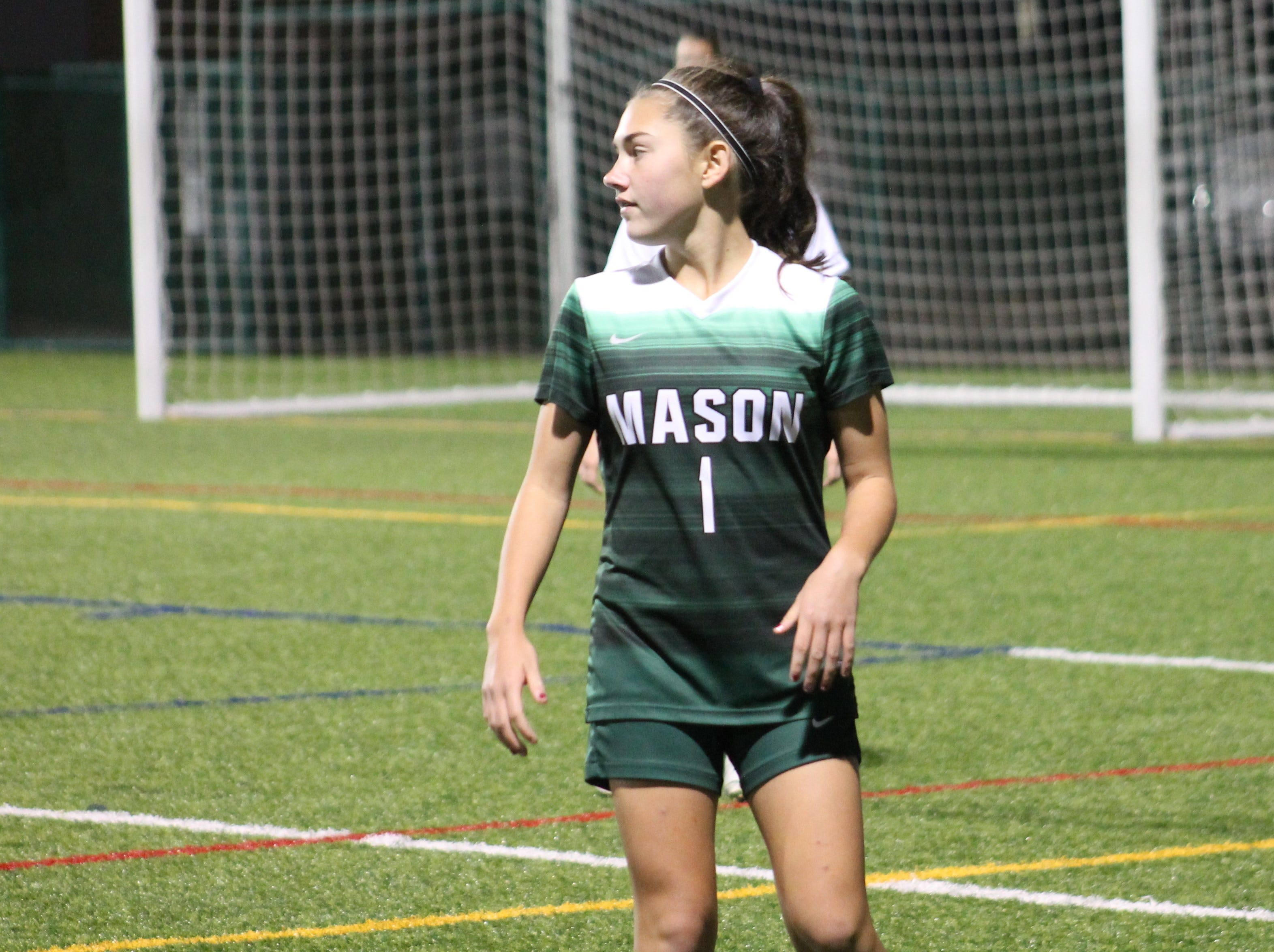 Mason freshman Jayna Searles is on alert