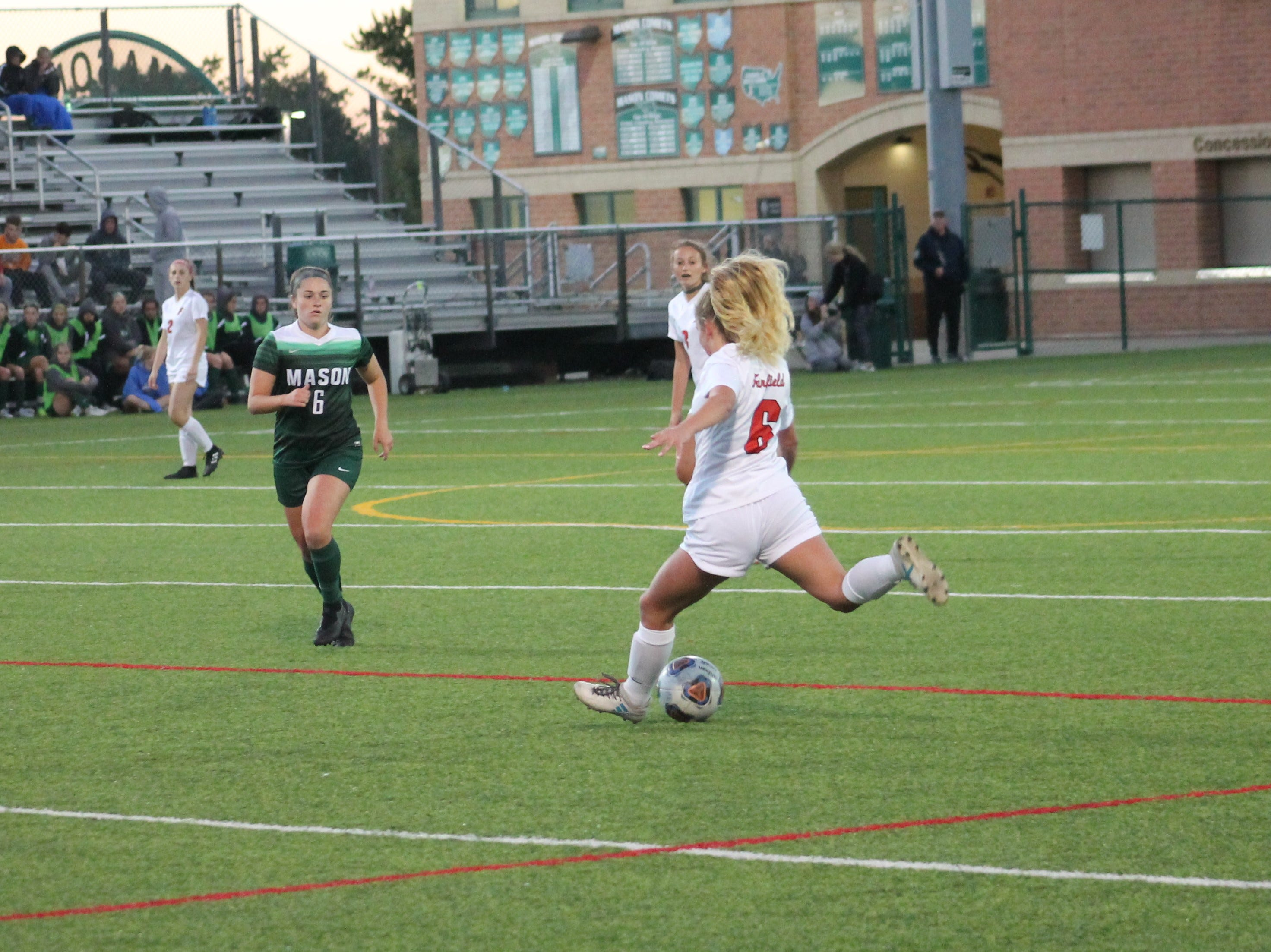 Fairfield senior Lily Welch cranks the ball upfield