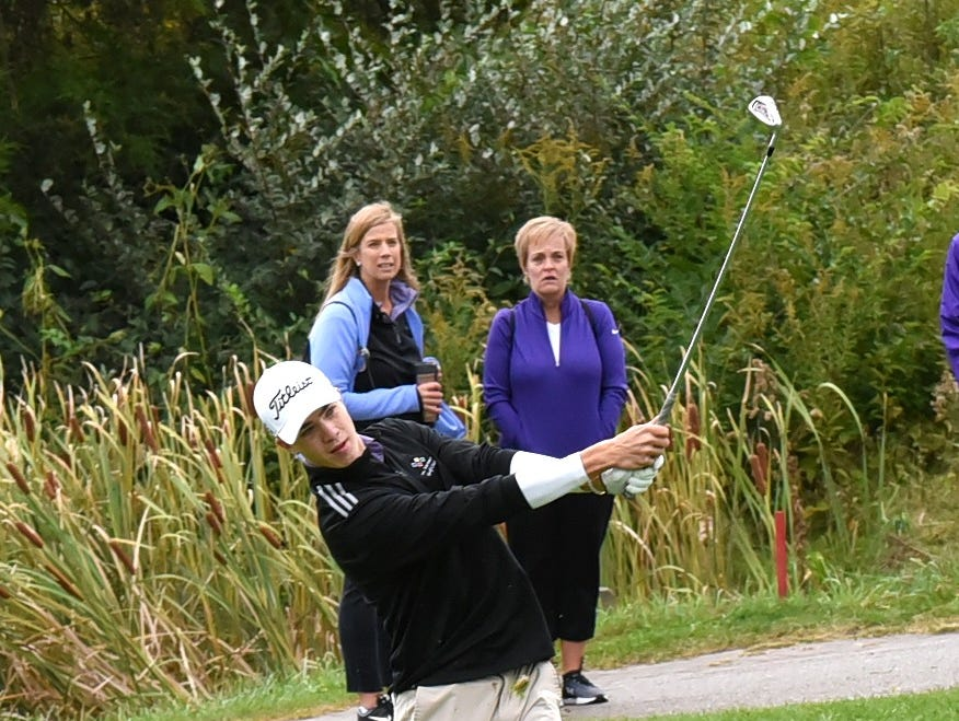 Lucas Palicki of Elder eyes his fairway approach to the green on the first hole at the 2018 Southwest District Golf Tournament in Beavercreek, Ohio, October 11, 2018.