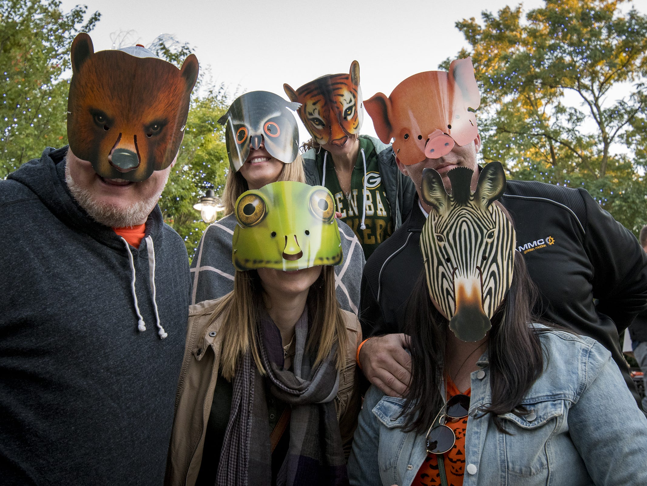 Chad Ishmael, Stephanie Gooney, Ken Budde, Michelle Campbell, Jennifer Ozimek and Becky Budde get into the spirit of the evening at Zoo Brew at the Cincinnati Zoo Thursday, Oct. 11.