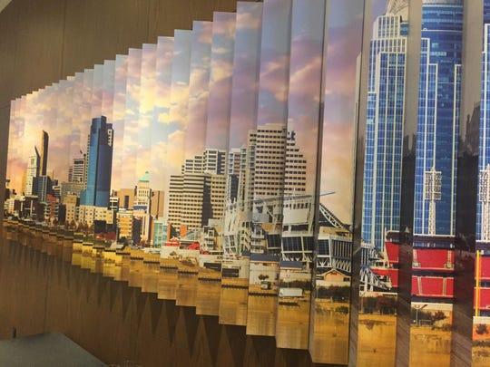 The mural in the lobby of The Cincinnatian, showing today's Cincinnati's skyline