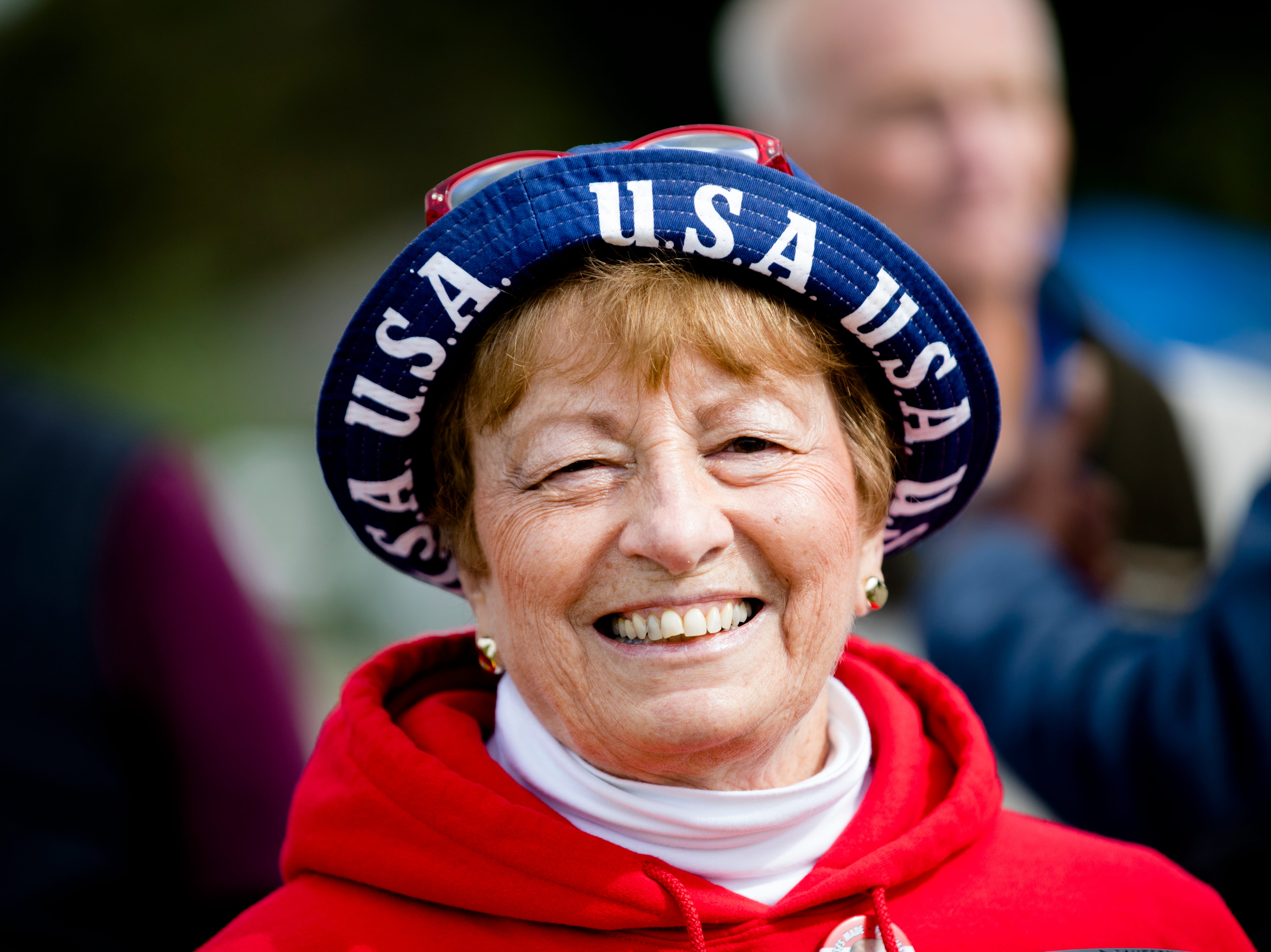 Carol Brown, of Landon, Ohio, waits in line for President Donald J. Trump's Make America Great Again Rally in Lebanon, Ohio, on Friday, Oct. 12, 2018.