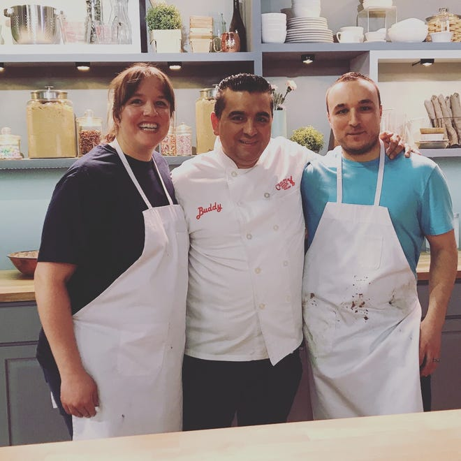 "Jennifer Gallo, Buddy ""Cake Boss"" Valastro and Alex Martin during production of ""Bake It Like Buddy."""