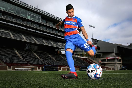 FC Cincinnati midfielder Emmanuel Ledesma is pictured, Thursday, Oct. 11, 2018, at Nippert Stadium in Cincinnati.