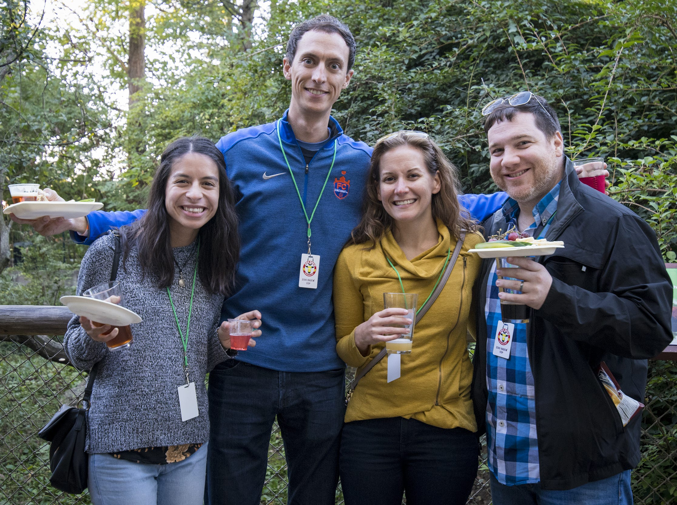 Nuntakaa Ternai, Joel Jones, Ashley Sutter and Michael Brewster attend Zoo Brew.