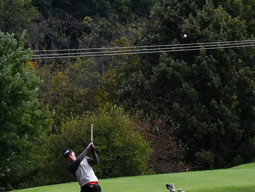 Alan Nienaber of Oak Hills lauches a strike from the fairway on the back nine at the 2018 Southwest District Golf Tournament in Beavercreek, Ohio, October 11, 2018.