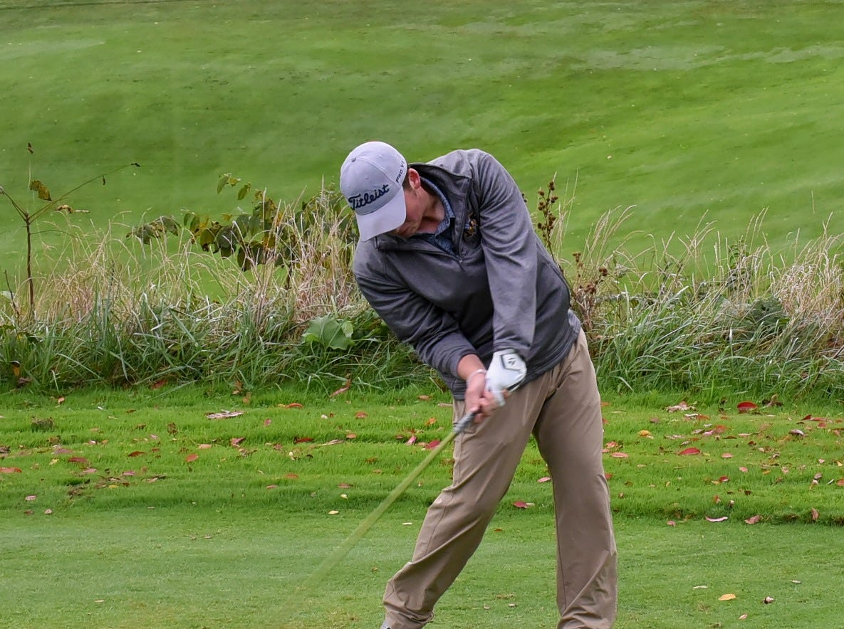 Monroe's Alex Gomia powers into his tee shot on the first hole at the 2018 Southwest District Golf Tournament in Beavercreek, Ohio, October 11, 2018.