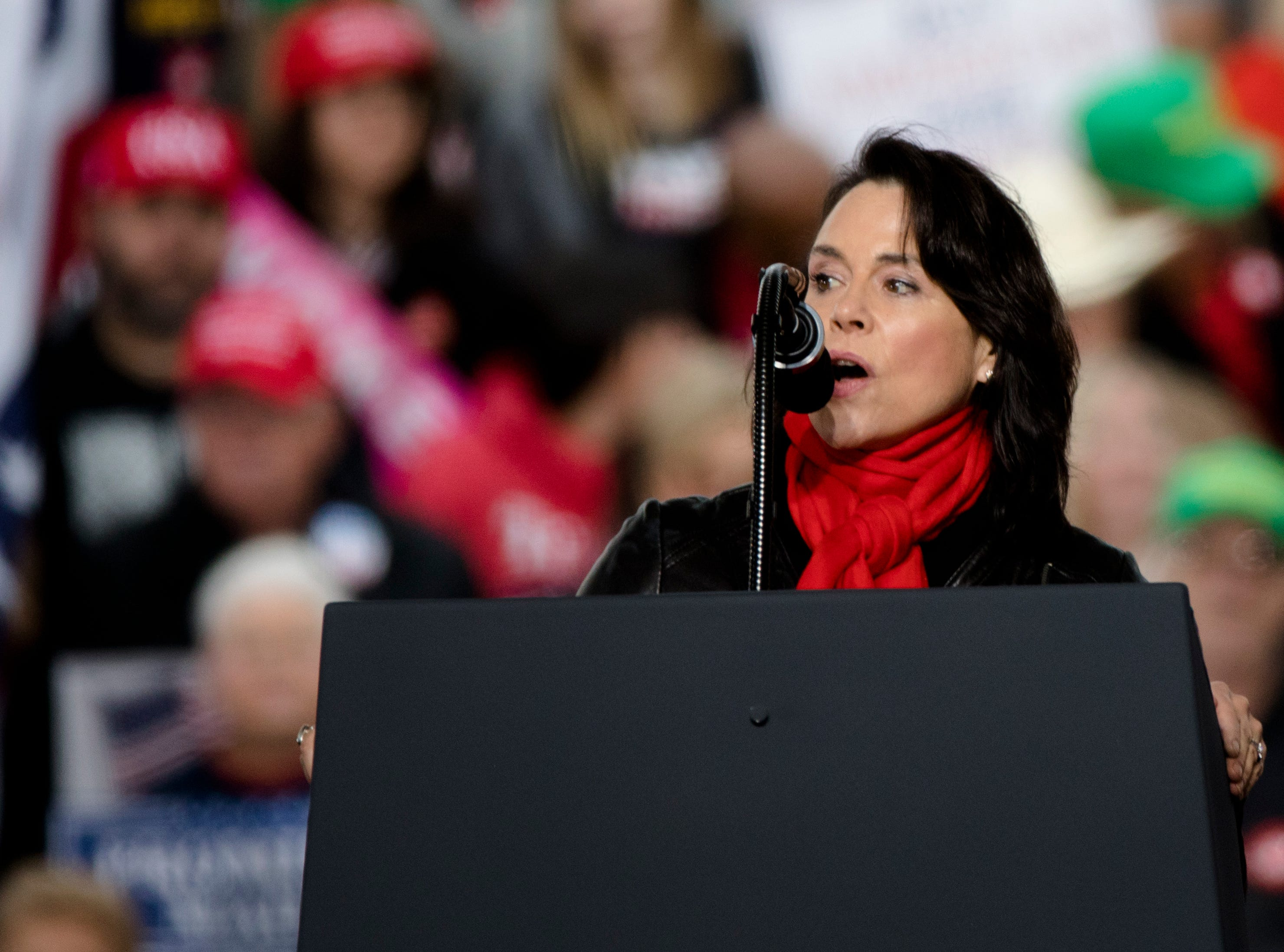 Jane Timken, Ohio Republican Party Chairwoman, speaks during President Donald J. Trump's Make America Great Again Rally in Lebanon, Ohio, on Friday, Oct. 12, 2018.