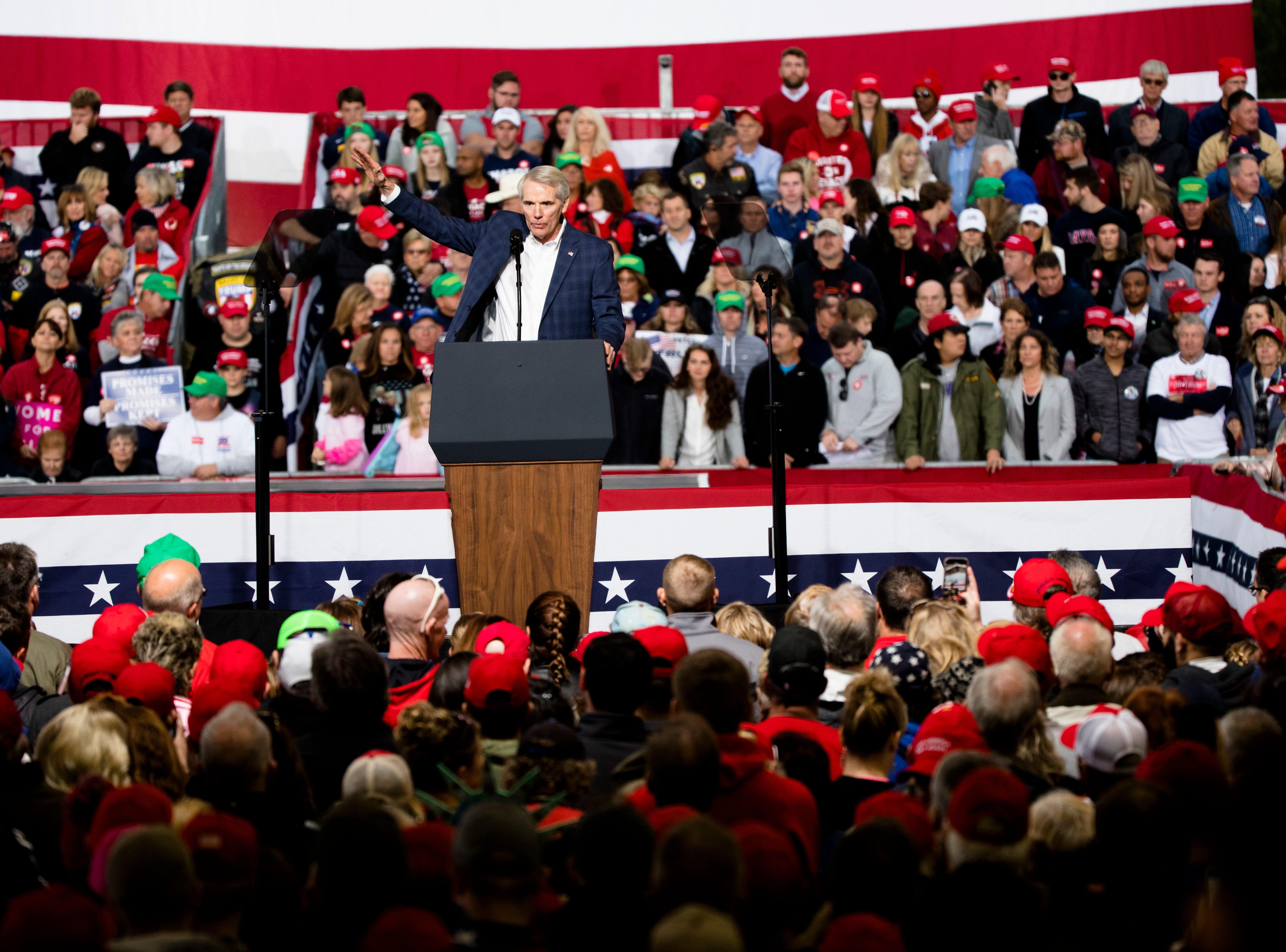 Senator Rob Portman speaks during President Donald J. Trump's Make America Great Again Rally in Lebanon, Ohio, on Friday, Oct. 12, 2018.