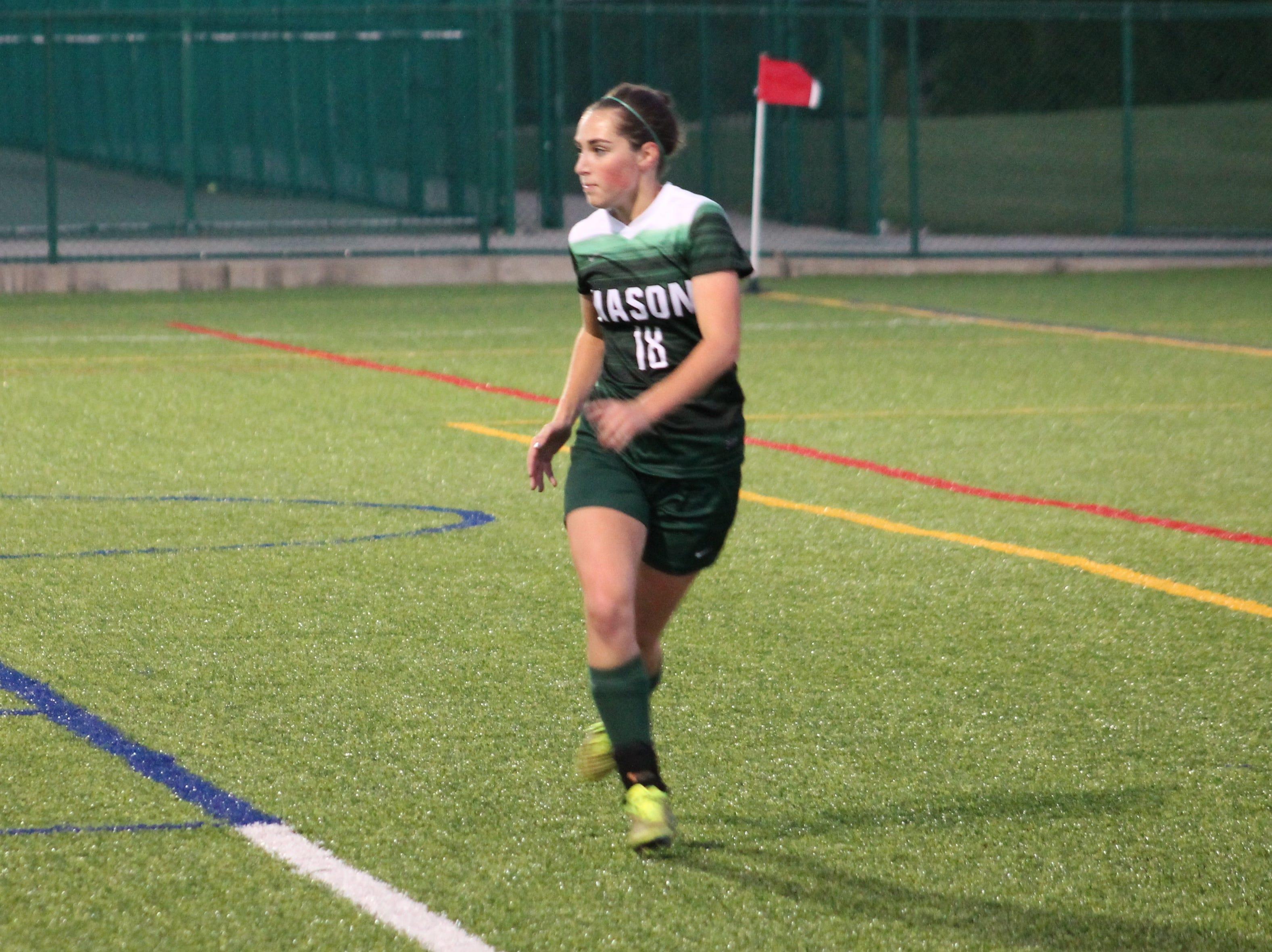 Mason senior defender Meghan Curran tracks down the ball against Fairfield