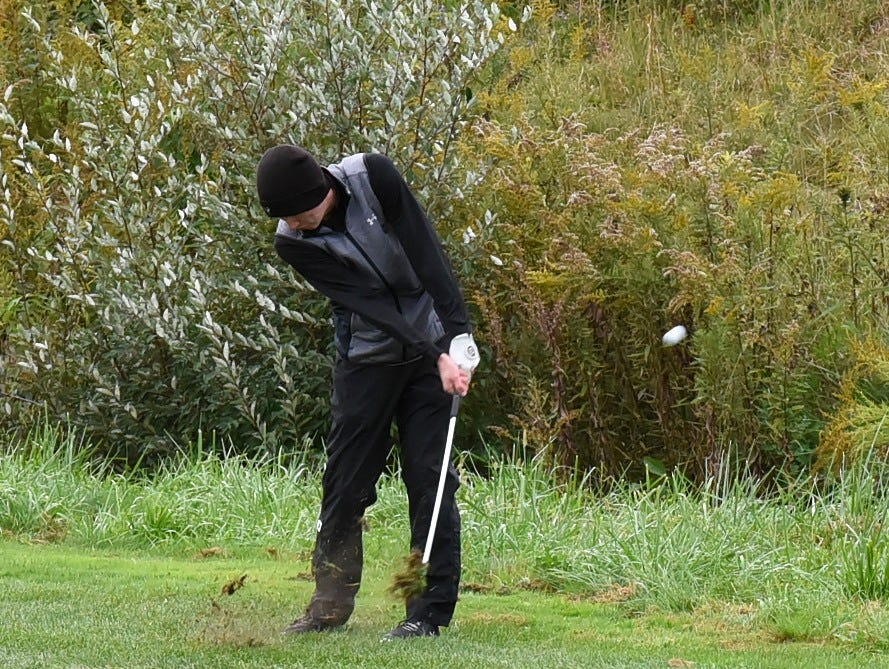 Lakota East's Kyle Schmidt clears the rough on his way to a first place finish at the 2018 Southwest District Golf Tournament in Beavercreek, Ohio, October 11, 2018.