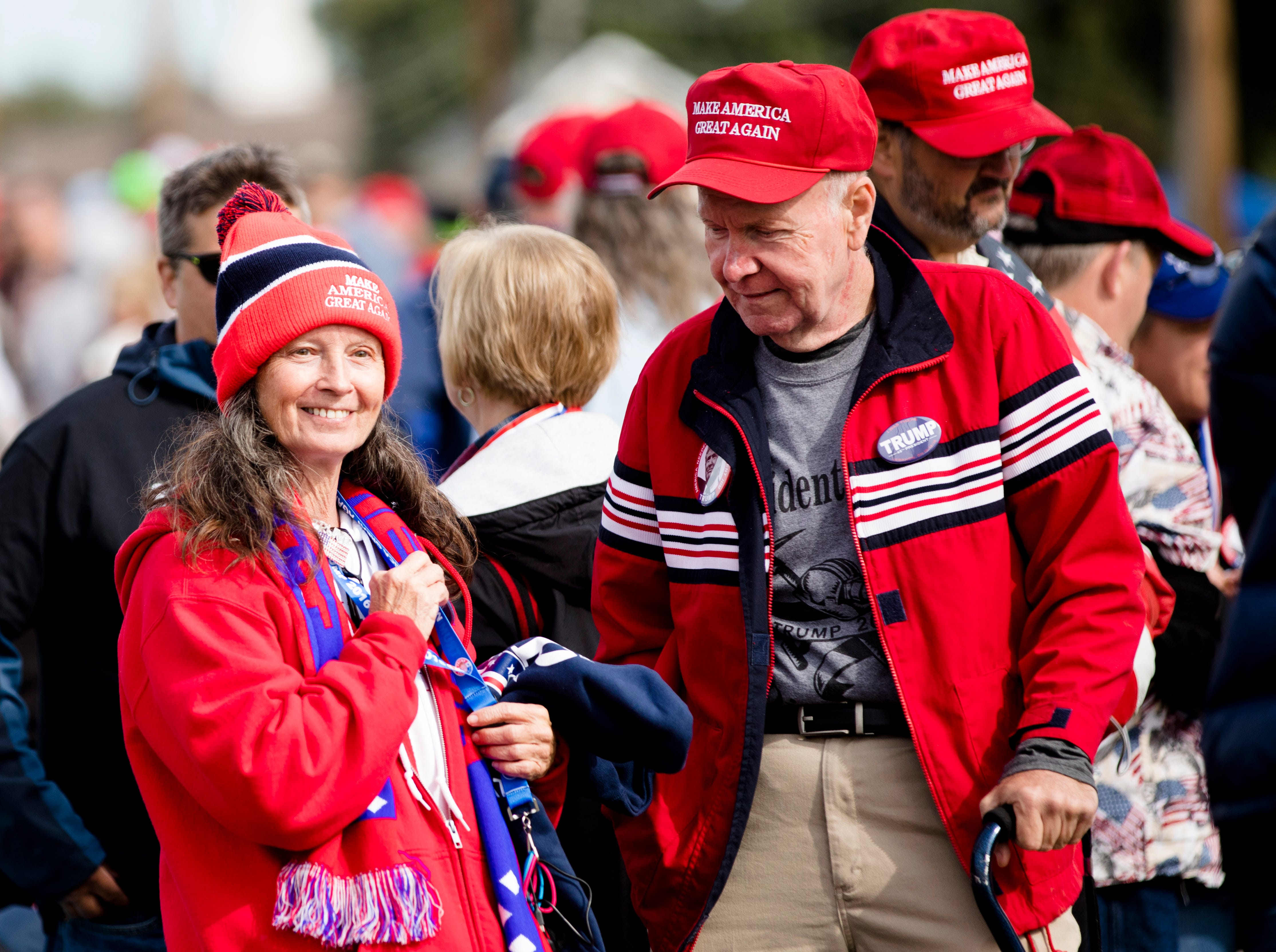 Arvil Runyon and his wife, Emma Runyon, of West Virginia, wait in line for President Donald J. Trump's Make America Great Again Rally in Lebanon, Ohio, on Friday, Oct. 12, 2018.