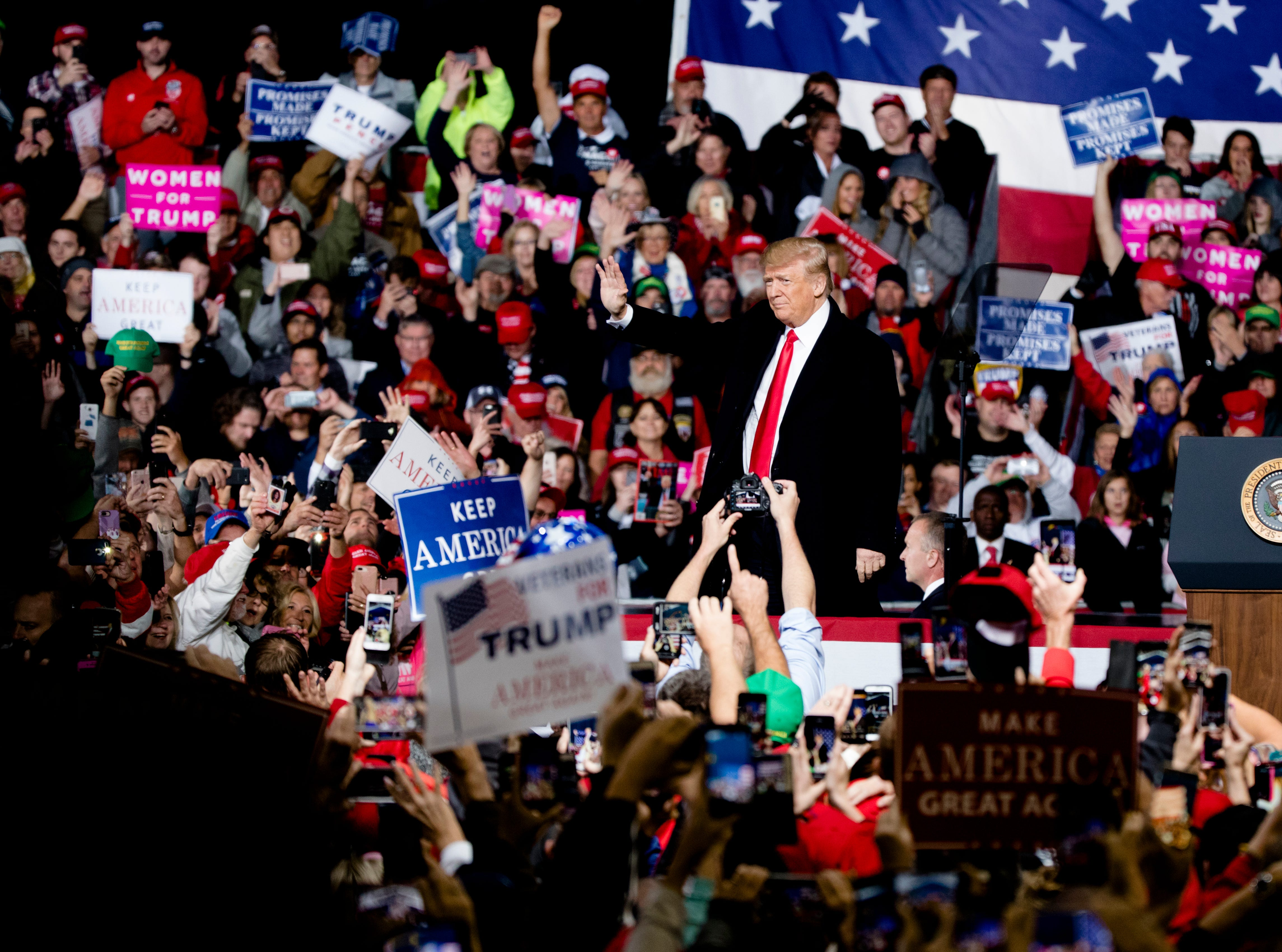 President Donald J. Trump speaks during President Donald J. Trump's Make America Great Again Rally in Lebanon, Ohio, on Friday, Oct. 12, 2018.