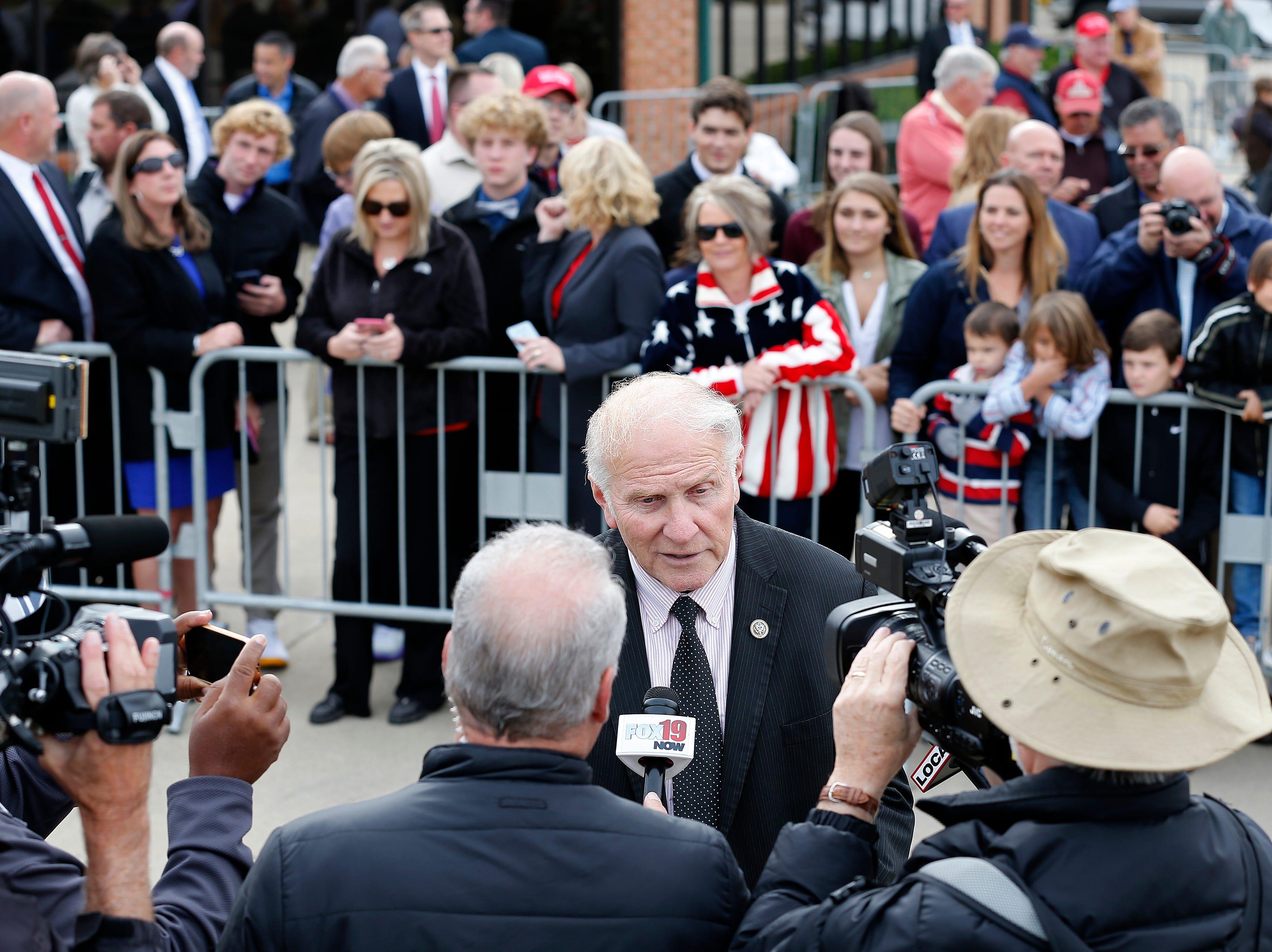 Congressman Steve Chabot talks speaks with the media at Lunken Airport Friday, October 12, 2019 before President Donald Trump arrives.