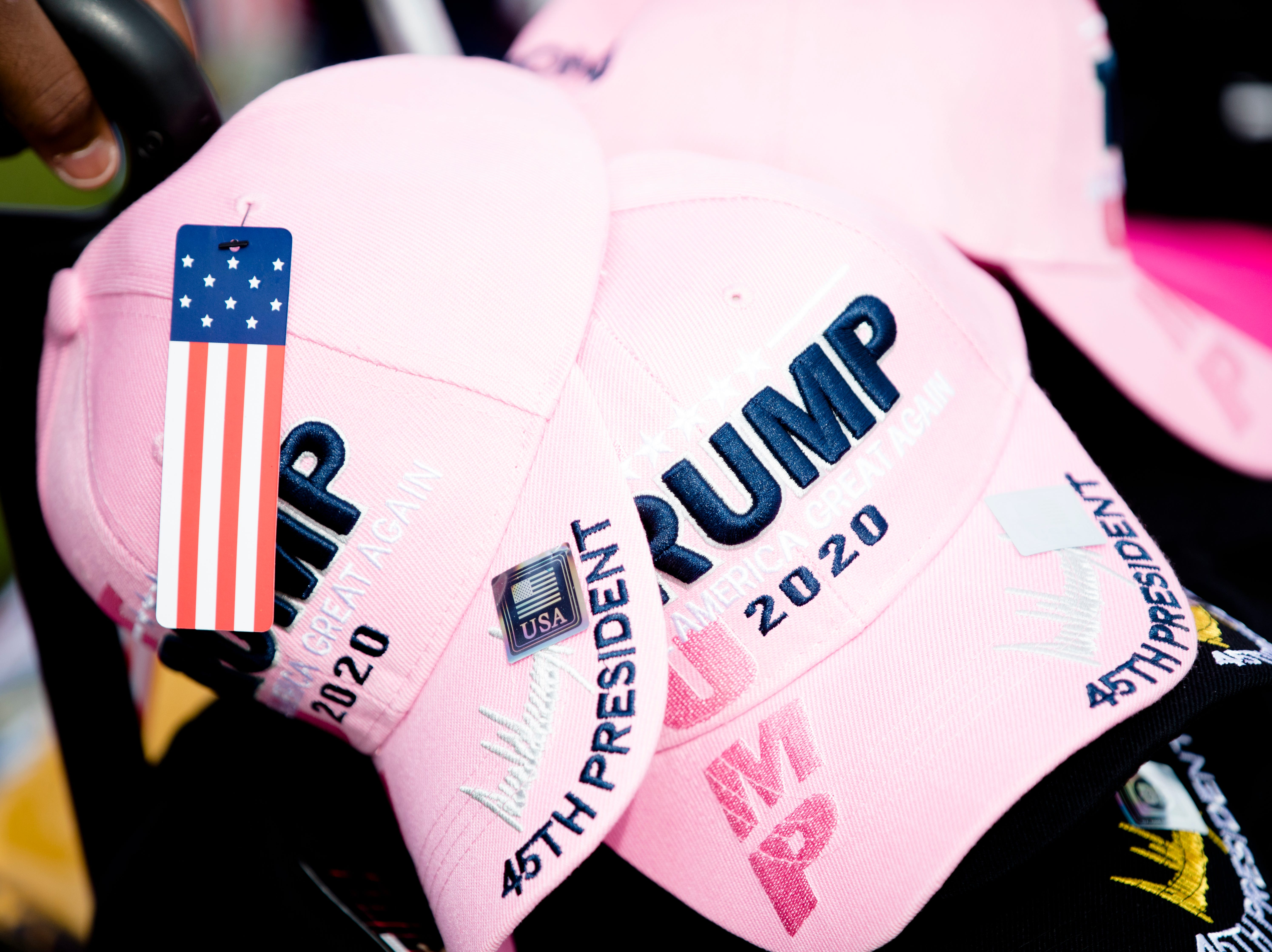 Trump hats for sale in the line to President Donald J. Trump's Make America Great Again Rally in Lebanon, Ohio, on Friday, Oct. 12, 2018.