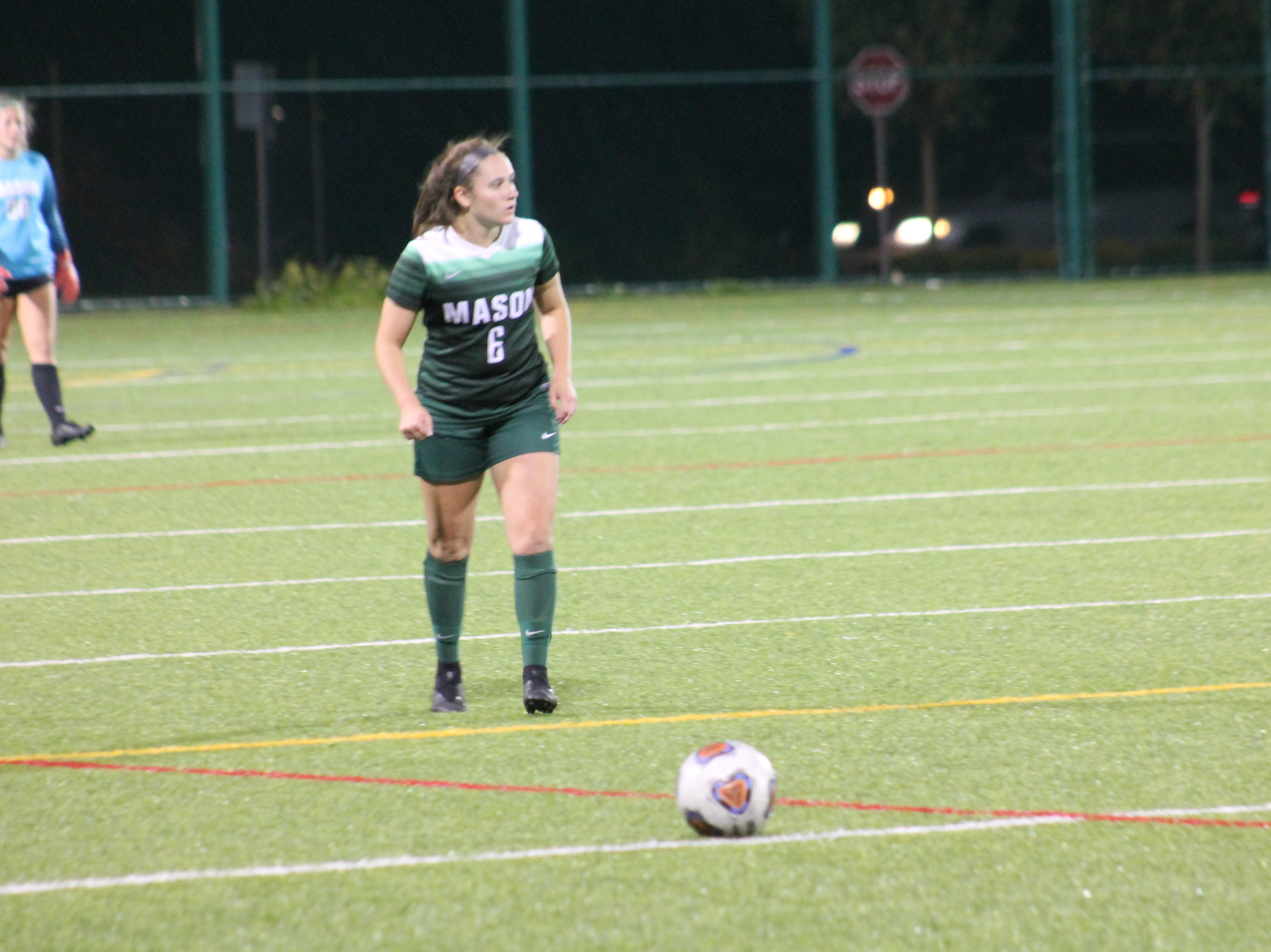 Mason senior midfielder Victoria Bonno looks ahead before the free kick against Fairfield