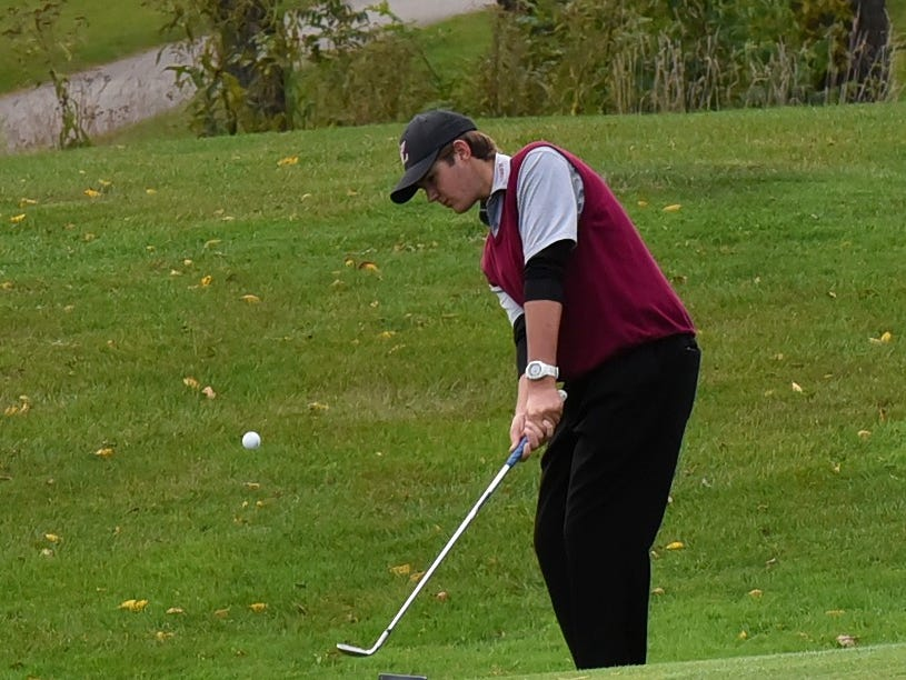Bryce Lambert of Lebanon finds the green on a pitch shot at the 2018 Southwest District Golf Tournament in Beavercreek, Ohio, October 11, 2018.