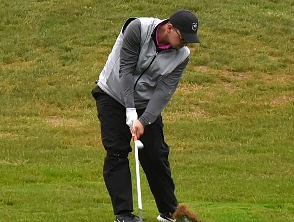 Joe Wilson of Lakota East lifts a shot out of the rough at the 2018 Southwest District Golf Tournament in Beavercreek, Ohio, October 11, 2018.