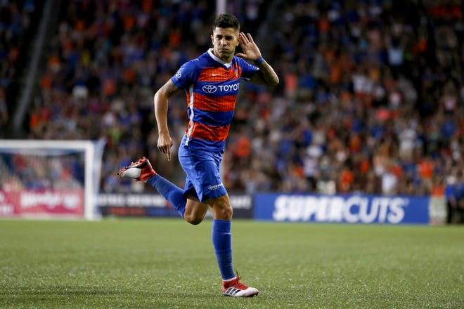 FC Cincinnati midfielder Emmanuel Ledesma (45) celebrates his goal in the second half during an international friendly match between RCD Espanyol and FC Cincinnati, Saturday, July 28, 2018, at Nippert Stadium in Cincinnati.