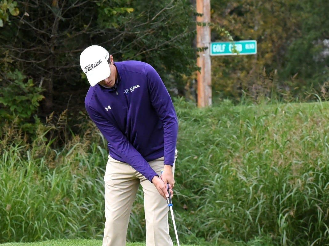 Jack Wertz of Elder putts from the fringe on the front nine at the 2018 Southwest District Golf Tournament in Beavercreek, Ohio, October 11, 2018.