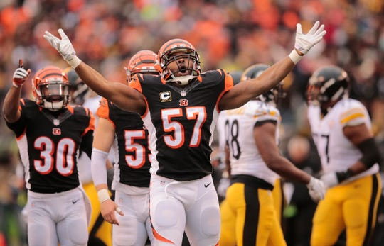 Cincinnati Bengals outside linebacker Vincent Rey (57), center, reacts after a special teams play in the second quarter during the Week 15 NFL game between the Pittsburgh Steelers and the Cincinnati Bengals, Sunday, Dec. 18, 2016, at Paul Brown Stadium in Cincinnati.